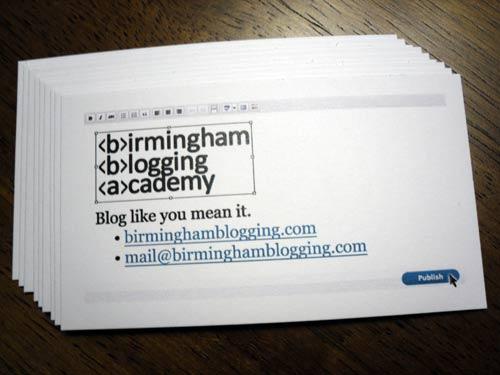 Birmingham Blogging Academy business card
