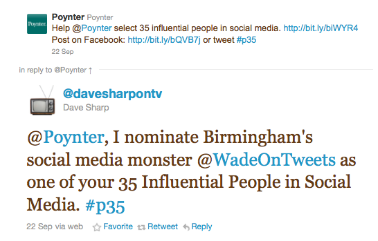 Dave Sharp tweet to Poynter