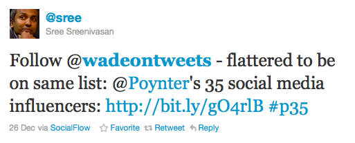 Sree Sreenivasan tweet about Poynter
