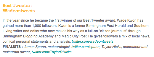 Birmingham Magazine - Best Tweeter - Best of B'ham 2011