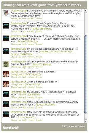 Twitter restaurant list