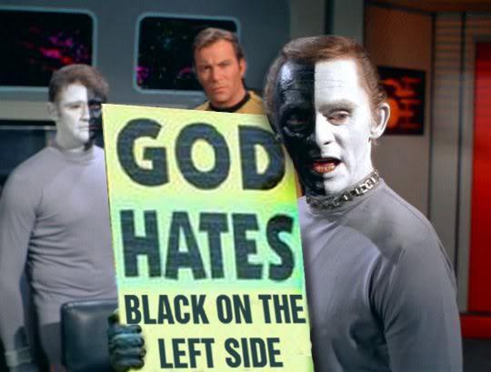 Star Trek - God hates black on the left side