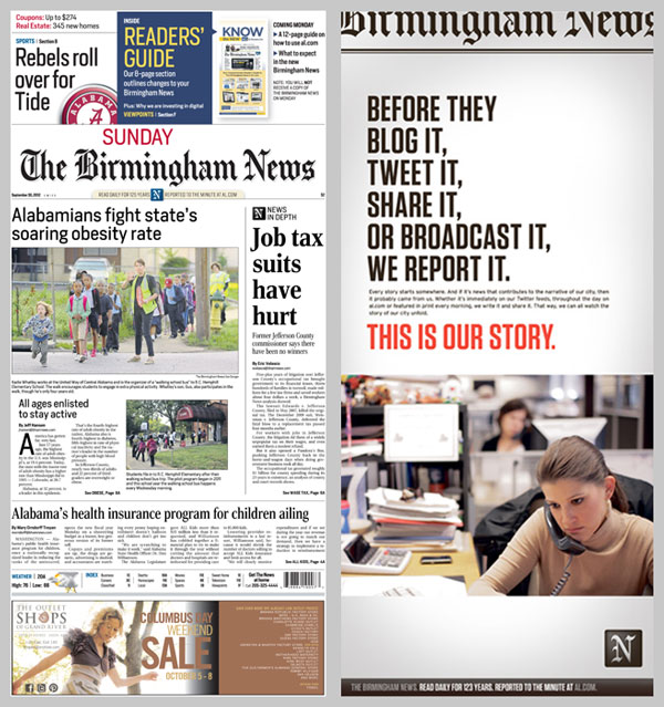 The Birmingham News, Sept. 30, 2012 front page, ad