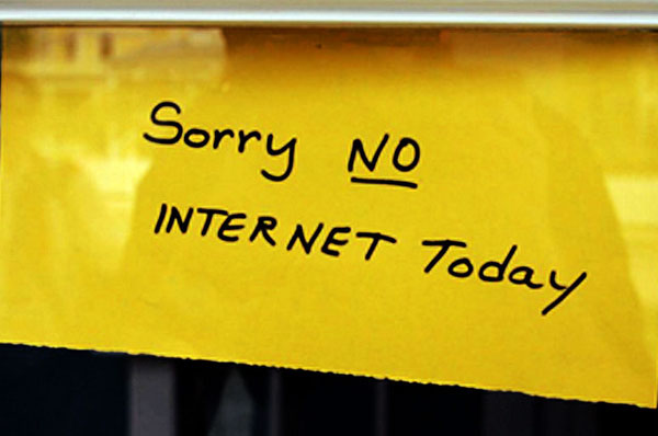 Sorry No Internet Today sign