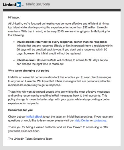 LinkedIn InMail change