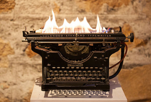 typewriter on fire