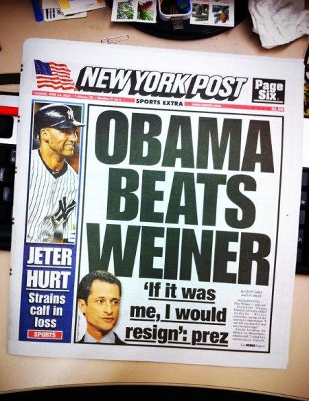Obama Beats Weiner