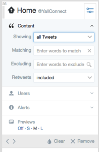 Filter tweets by search terms and other criteria. Pro tip: Quickly jump to tweets mentioning your brand or a competitor, or an important hashtag.