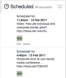 See what your brand will tweets, or what colleagues have scheduled. Pro tip: An editorial calendar keeps everyone on the same page.
