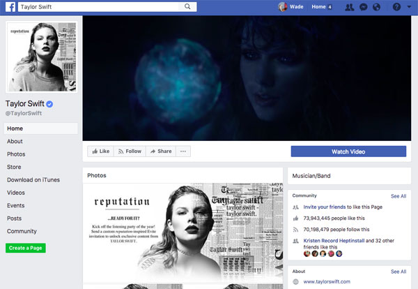 Taylor Swift Facebook page